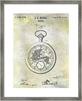 1916 Pocket Watch Patent Framed Print