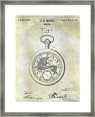 1916 Pocket Watch Patent Framed Print by Jon Neidert