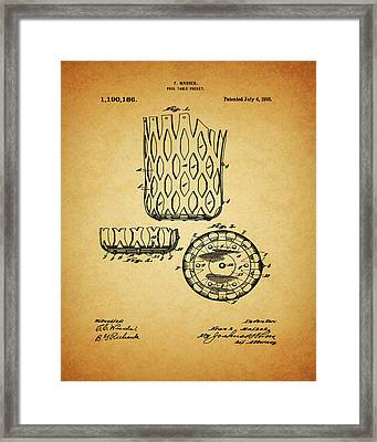 Framed Print featuring the mixed media 1916 Pool Table Pocket Patent by Dan Sproul