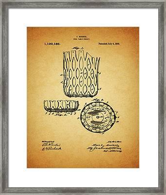 1916 Pool Table Pocket Patent Framed Print