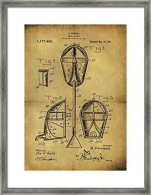 1916 Smoke Helmet Patent Framed Print by Dan Sproul