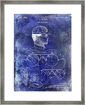 1916 Sunglasses Patent Blue Framed Print by Jon Neidert