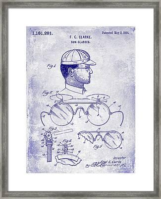 1916 Sunglasses Patent Blueprint Framed Print
