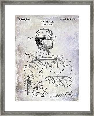 1916 Sunglasses Patent Framed Print