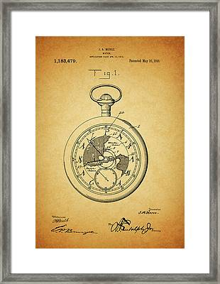 1916 Travel Watch Patent Framed Print by Dan Sproul