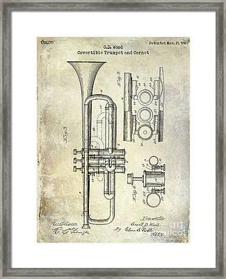 1916 Trumpet Patent Framed Print by Jon Neidert