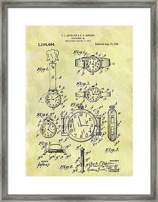 1916 Watch Patent Framed Print by Dan Sproul