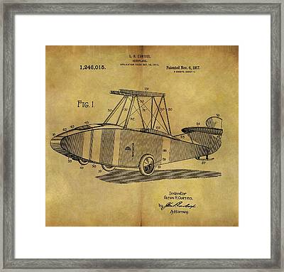 1917 Airplane Patent Framed Print by Dan Sproul