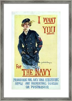 1917 Navy Recruiting Poster Framed Print by Jon Neidert