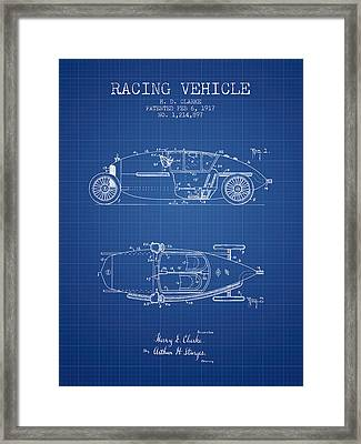 1917 Racing Vehicle Patent - Blueprint Framed Print by Aged Pixel