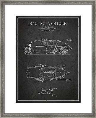 1917 Racing Vehicle Patent - Charcoal Framed Print