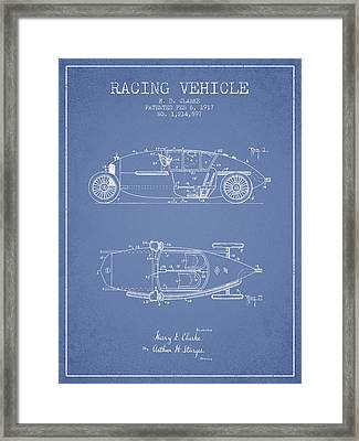 1917 Racing Vehicle Patent - Light Blue Framed Print by Aged Pixel