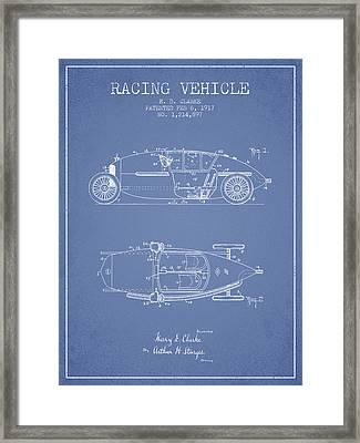 1917 Racing Vehicle Patent - Light Blue Framed Print