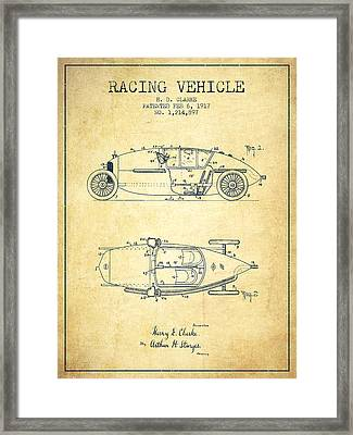 1917 Racing Vehicle Patent - Vintage Framed Print by Aged Pixel