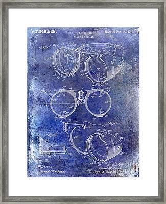 1917 Welders Goggles Patent Blue Framed Print