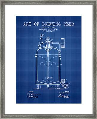 1918 Art Of Brewing Beer Patent - Blueprint Framed Print by Aged Pixel