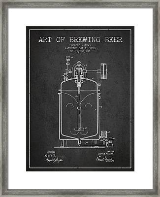 1918 Art Of Brewing Beer Patent - Charcoal Framed Print by Aged Pixel