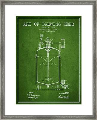 1918 Art Of Brewing Beer Patent - Green Framed Print by Aged Pixel