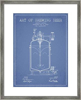 1918 Art Of Brewing Beer Patent - Light Blue Framed Print by Aged Pixel