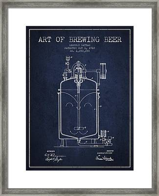 1918 Art Of Brewing Beer Patent - Navy Blue Framed Print by Aged Pixel