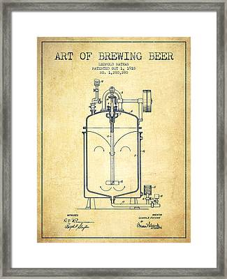 1918 Art Of Brewing Beer Patent - Vintage Framed Print by Aged Pixel