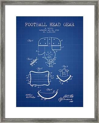 1918 Football Head Gear Patent - Blueprint Framed Print