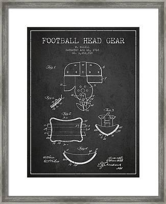 1918 Football Head Gear Patent - Charcoal Framed Print
