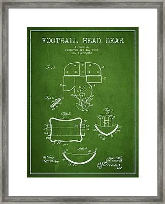 1918 Football Head Gear Patent - Green Framed Print