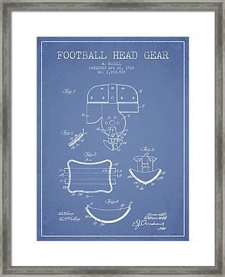 1918 Football Head Gear Patent - Light Blue Framed Print