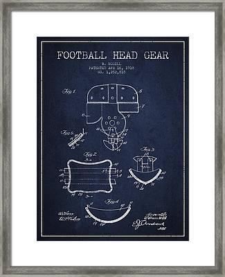 1918 Football Head Gear Patent - Navy Blue Framed Print