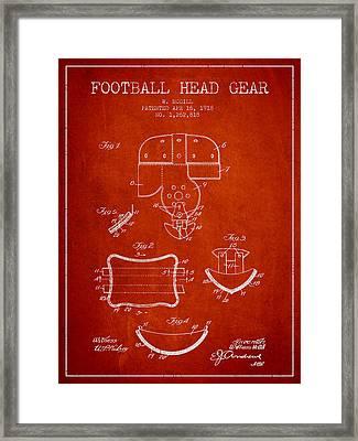 1918 Football Head Gear Patent - Red Framed Print