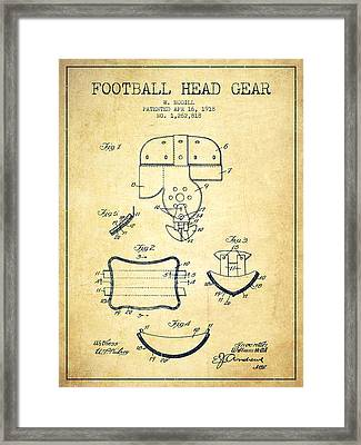 1918 Football Head Gear Patent - Vintage Framed Print by Aged Pixel