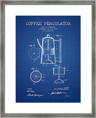 1919 Coffee Percolator Patent - Blueprint Framed Print by Aged Pixel
