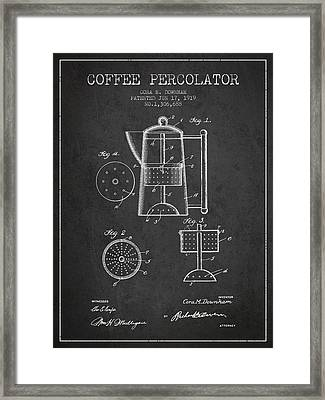 1919 Coffee Percolator Patent - Charcoal Framed Print by Aged Pixel