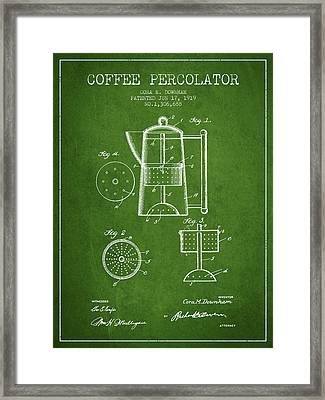 1919 Coffee Percolator Patent - Green Framed Print by Aged Pixel