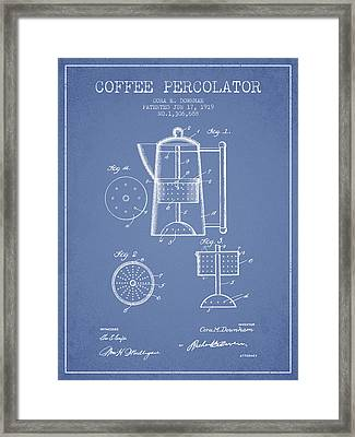 1919 Coffee Percolator Patent - Light Blue Framed Print