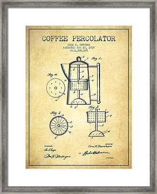 1919 Coffee Percolator Patent - Vintage Framed Print by Aged Pixel