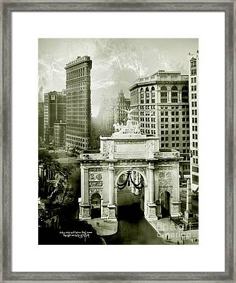 1919 Flatiron Building With The Victory Arch Framed Print by Jon Neidert