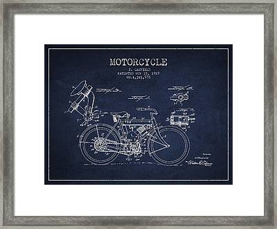 1919 Motorcycle Patent - Navy Blue Framed Print by Aged Pixel
