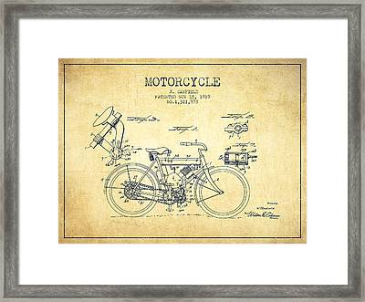 1919 Motorcycle Patent - Vintage Framed Print by Aged Pixel