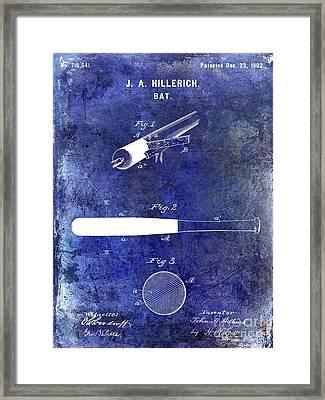 1920 Baseball Bat Patent Blue Framed Print