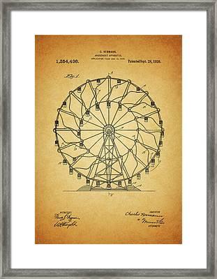 1920 Ferris Wheel Patent Framed Print