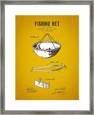 1920 Fishing Net Patent - Yellow Brown Framed Print by Aged Pixel