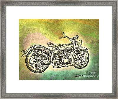 1920 Indian Motorcycle Graphite Pencil - Watercolor Framed Print