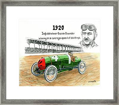 1920 Indy 500 Winner Gaston Chevrolet Framed Print by Jeff Blazejovsky