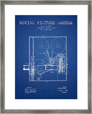 1920 Moving Picture Camera Patent - Blueprint Framed Print by Aged Pixel