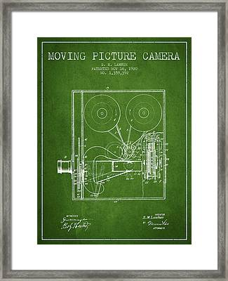 1920 Moving Picture Camera Patent - Green Framed Print by Aged Pixel