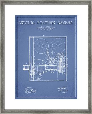 1920 Moving Picture Camera Patent - Light Blue Framed Print by Aged Pixel