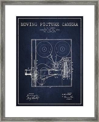 1920 Moving Picture Camera Patent - Navy Blue Framed Print by Aged Pixel