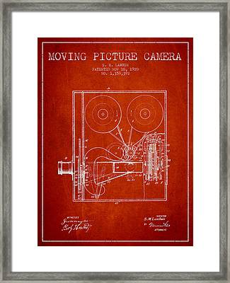 1920 Moving Picture Camera Patent - Red Framed Print by Aged Pixel